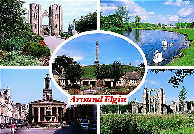 Around Elgin Multiview. Moray, Scotland. Cathedral Whiteholme of Dundee Postcard