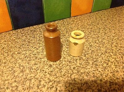 Small vintage antique stoneware earthenware bottle X 2  - ink?