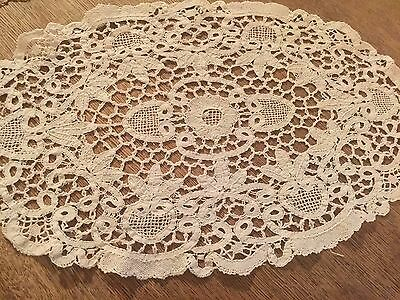 Handmade Antique Vtg Embroidery Lace Centerpiece Doily Victorian