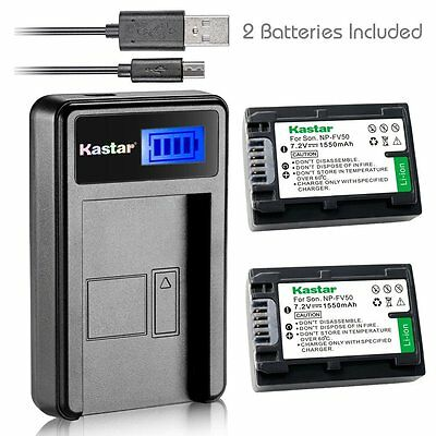 Kastar Battery and LCD Slim USB Charger for Sony NP-FV50 NP-FV40 NP-FV30