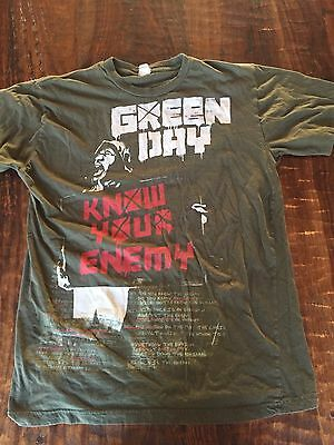 GREEN DAY 'Know Your Enemy' T-Shirt Band Concert Tour Punk Rock Green Sz Medium