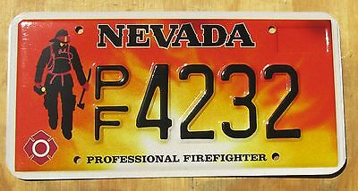 FIRE FIGHTER NEVADA specialty license plate  2005  4232