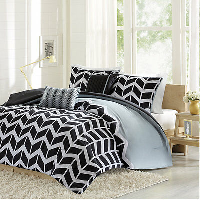 Geometric Comforter Set Bed In A Bag Bedding Geo Twin Size Bed Black