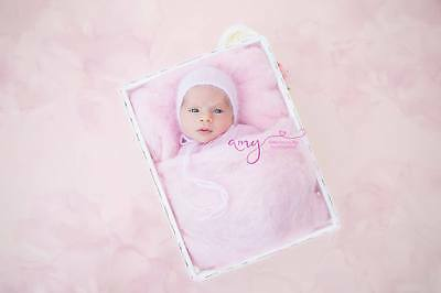 Pink Newborn Photo Prop Basket filler Wool Fluff Blanket Liner UK