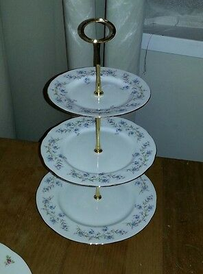 Vintage Duchess Bone China 3 Tier Cake Stand Tranquility Blue Flowers Design
