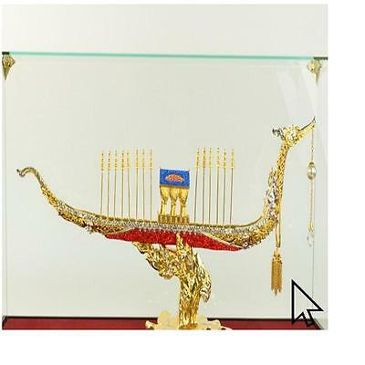 24K Gold Extra Large Chinese Ship With Ruby Sapphire Jewelry Bronze Sculpture