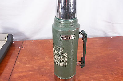 """Vintage Aladdin Stanley Green Metal Thermos Unbreakable 1 Quart 14""""  A-944DH"""