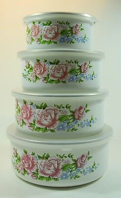 4 Vintage Lidded Enamel Containers -Nesting/Stackable Ideal For Camping Caravan
