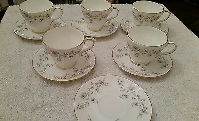 VINTAGE DUCHESS BONE CHINA Teacups and saucers set TRANQUILLITY BLUE FLOWERS vgc
