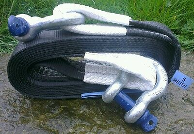 RECOVERY RESCUE WINCH TOW ROPE STROP STRAP 5M 5TON & 2x 3.25T TESTED SHACKLES