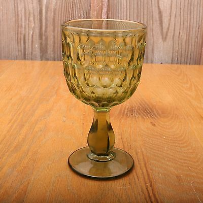 Vintage Green Glass Goblet Wine Cup Long Thumbprint Pattern