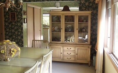 Antique Dining Set White Furniture kitchen Table Hutch chairs Hardwood Vintage