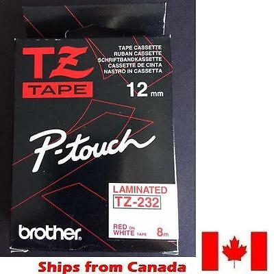 GENUINE BROTHER P-Touch RIBBON TAPE LABEL 12mm TZ-232 RED on WHITE - 8m