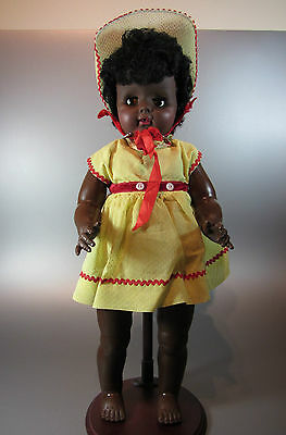 """Vintage BLACK BABY DOLL with original clothes 60's rare 20"""" made Unbranded 18-5"""