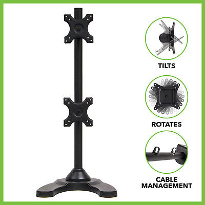 """Dual Vertical LCD Monitor Mount Stand/Mount Free Standing 2 Screens up to 27"""""""