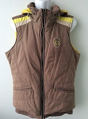 ANKY ladies brown quilted down padded riding bodywarmer gillet waistcoat size M