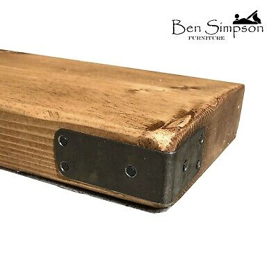 Chunky Wooden Rustic Solid Floating Shelf Shelves Mantel Corner Strap 15cm C15