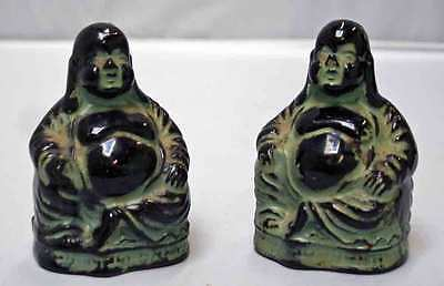 VINTAGE ceramic SALT & PEPPER SHAKERS~LAUGHING BUDDHA~ORIENTAL MARKS