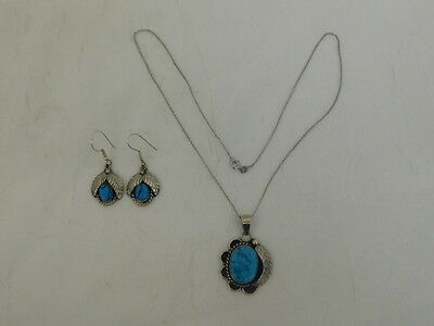Turquoise Sterling Earrings Necklace Set Mexico Artisan Handcrafted Leaf