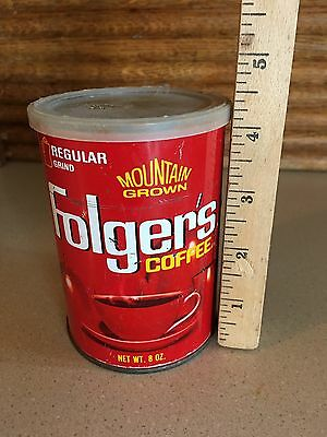 VINTAGE 1970s 8 oz Folgers Can - Lid cracked ~ COFFEE ~ RETRO KITCHEN