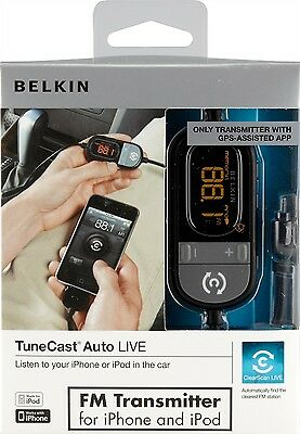 Belkin Tunecast F8Z498cw Auto Live FM Transmitter iPhone 4 NEW BOXED