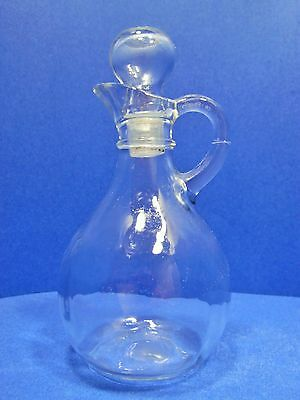 Vintage Cruet Decanter with Stopper Clear Glass Oil Vinegar Dressing Tableware