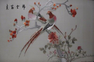 Antique Vintage Large Chinese Silk Embroidered Picture Birds Flowers Peonies