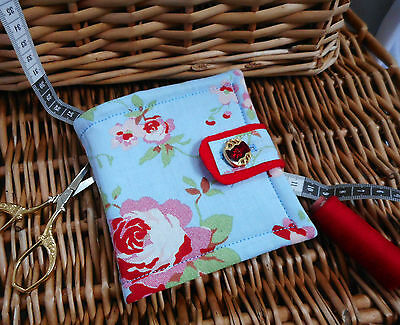 """HANDCRAFTED PADDED CATH KIDSTON NEEDLE CASE.MOTHERS DAY GIFT..""""ROSALIE"""" blue (G)"""