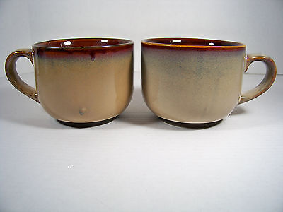 2 Sango Brown Soup Mugs 4933 Large 24oz