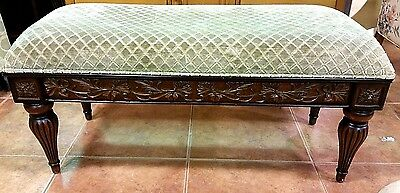 Bombay Company Antique Reproduction Carved Oak Vanity Bench Ottoman Foot Stool