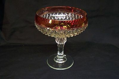 Vintage 'DIAMOND POINT' Indiana Glass Co. with Ruby Rim Compote