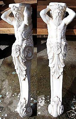 2 Greek Sculptures Tritons. Corbel great arches / shelf
