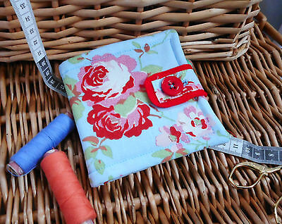 """MOTHERS DAY GIFT..HANDCRAFTED PADDED CATH KIDSTON NEEDLE CASE..""""ROSALIE"""" blue A"""