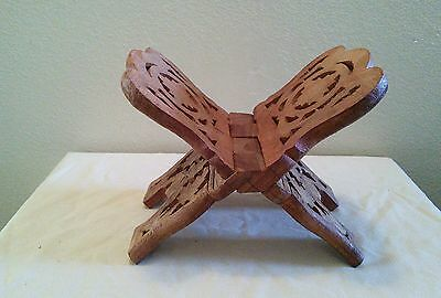 Wood Carved Folding Book Bible Stand