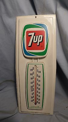 """Vintage 1970's Molded Plastic 15"""" 7UP Thermometer - Advertising Sign-Excellent!!"""