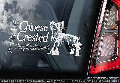Chinese Crested Dog - Car Window Sticker - Powder Puff Hairless Art Sign - TYP1