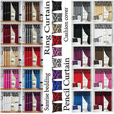 Ready Made Flock Ring Top or Pencil Pleat Fully Lined Pair Curtain + 2 Tie Backs