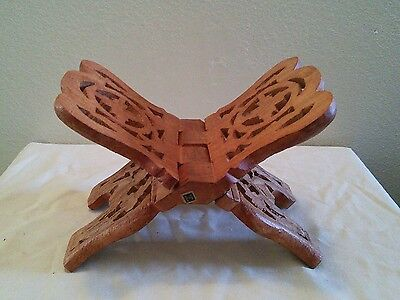 Folding Wood Carved Bible Book Stand