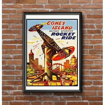 Coney Island Rocket Ride Poster - Classic Toy Fairground Artwork