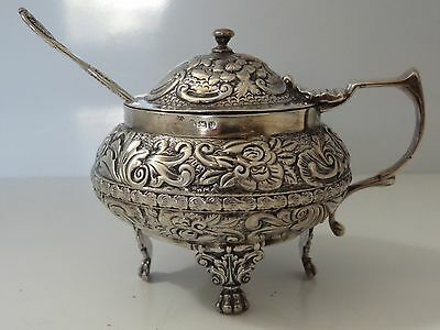 Antique English Georgian Sterling Mustard Pot With Spoon
