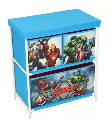 Marvel Avengers Superheroes Childrens 3 Drawer Toy Cabinet Storage Box Furniture