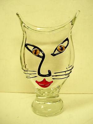 large clear color glass Picasso style CAT FACE VASE Murano hand blown glass