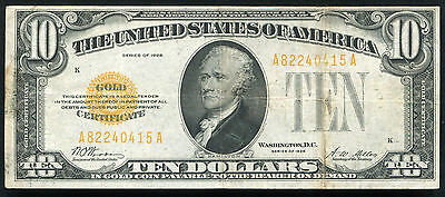 Fr. 2400 1928 $10 Ten Dollars Gold Certificate Currency Note Very Fine