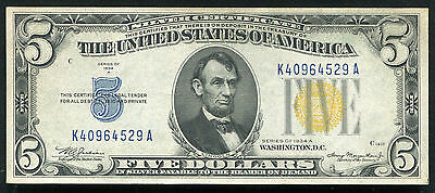 "1934-A $5 Five Dollars ""North Africa"" Silver Certificate About Uncirculated"