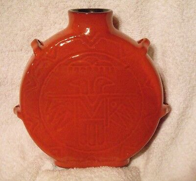 Frankoma Pottery Red Flame Thunderbird Eagle Canteen # 59