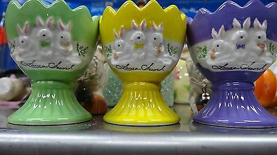 3 Vintage Collectible Laura Secord Egg Cups With Easter Ornaments Lots