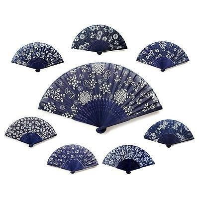 "BATIK STYLE FABRIC HAND FAN 8"" Blue White NEW Folding Pocket Purse Bamboo Gift"