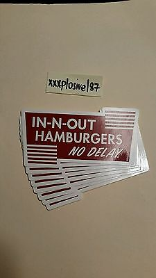 IN-N-OUT BURGER NO DELAY LOGO BUMPER STICKER double vintage retro animal style