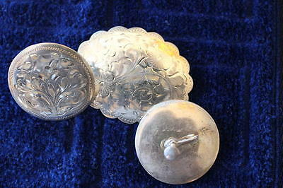 Vintage Victorian Sterling Silver Engraved Brooch and Earrings