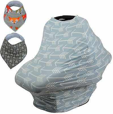 Stretchy 4-1 Baby Car Seat Canopy Nursing Cart Stroller Cover Bandana Drool Bib